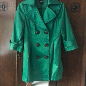 Green double-breasted XOXO rain/trench coat.